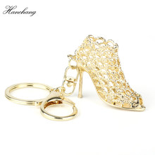 Creative Fancy Hollowed-out High Heel Shoes Keychains Rhinestone Keyring Women Girls Handbag Key Holder Birthday Christmas Gift(China)