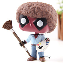 Deadpool Deadpool como Bob Ross Bonecos Bobble Head PVC Action Figure Toy Collectible Modelo com Caixa de Varejo(China)