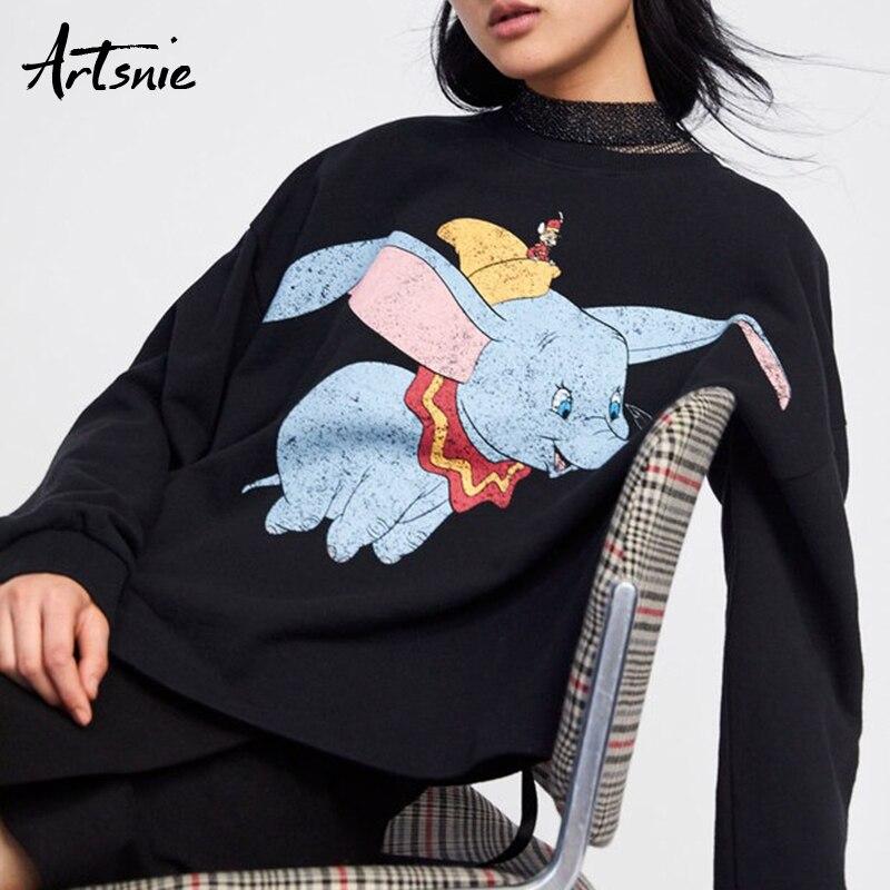 Artsnie Black Casual Knitted Cartoon Sweatshirts Women Spring 2019 O Neck Long Sleeve Oversized Hoodies Femme Jumper Sweatshirt