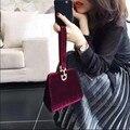 Bolsa de Terciopelo de las mujeres 2016 la Famosa Marca de Diseño Bolso de Moda Femenina Bolsa de Embrague de Las Señoras Pequeño Hombro Bolsas de Asa Superior de Noche bolsa