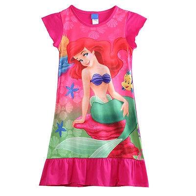 6-16yr Mädchen Kind Kinder Kleine Meerjungfrau Ariel Kurzen Ärmeln Kleider Pyjama Nachtwäsche Nachthemd Kleid Um Sowohl Die QualitäT Der ZäHigkeit Als Auch Der HäRte Zu Haben