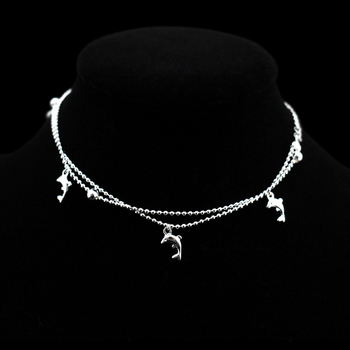 New Fashion Dolphin Pendant Small Round Ball Bead Anklet Bracelet 925 Sterling Silver Dolphin Ankle Chain For Women Jewelry Gift 5