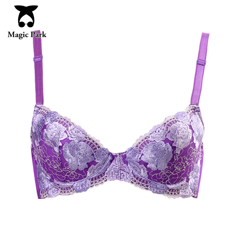 f67044fb11031 MagicPark 34 75BC 38 85BC Purple Embroidery Women Bra Inner Cotton ...