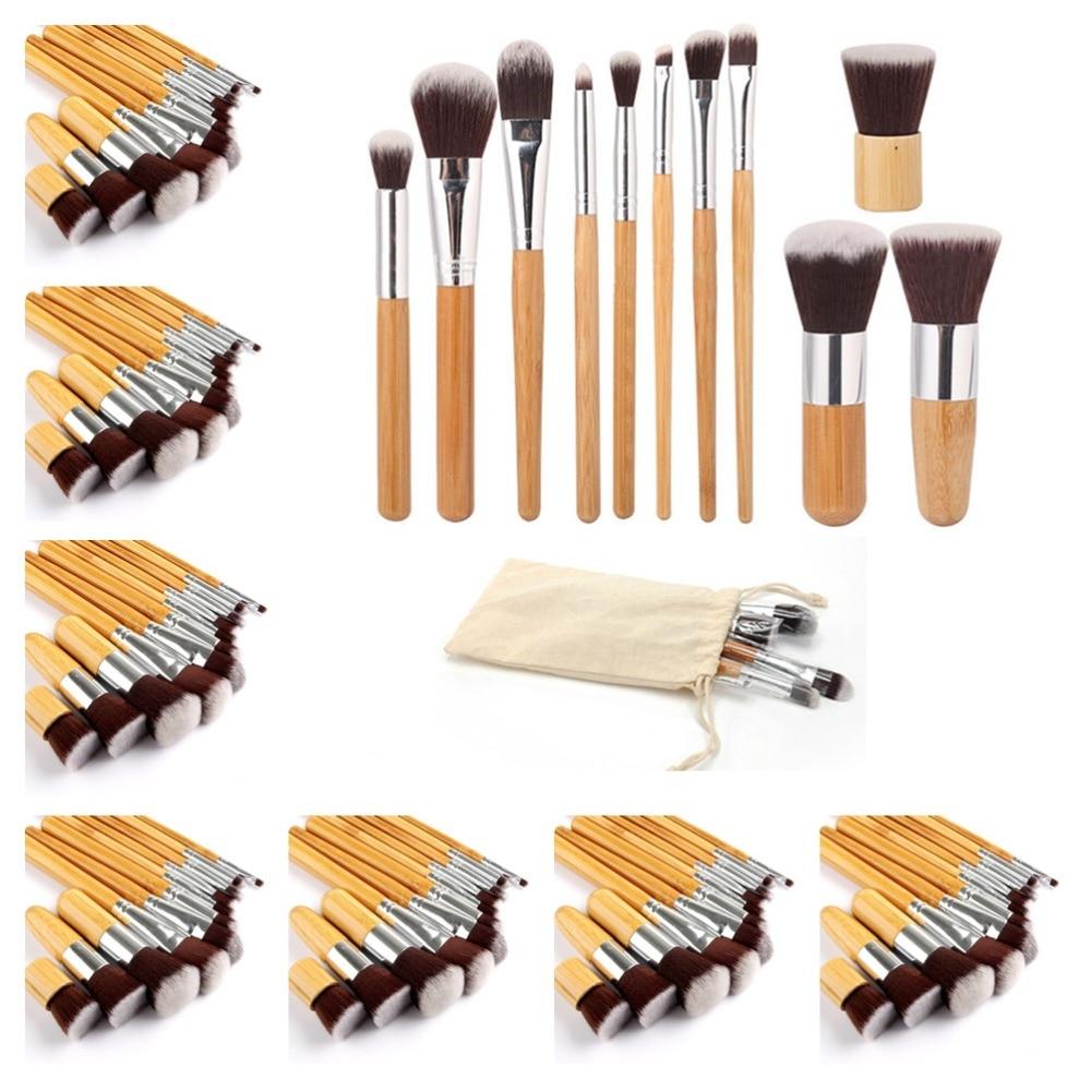 10set lot 11Pcs Professional Bamboo Handle Makeup Brushes Cosmetic Foundation Powder Concealer Blending pincel maquiagem kit