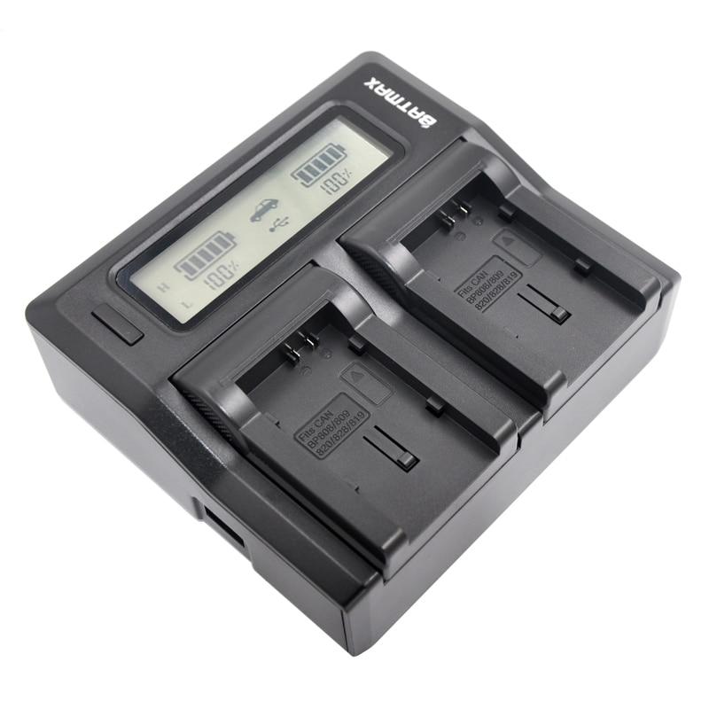BP-808 BP808 BP-809 BP809 BP819 BP827 Battery Camera LCD Display Dual Charger Kit for Canon FS300 FS100 XA10 VIXIA HG20 HG21