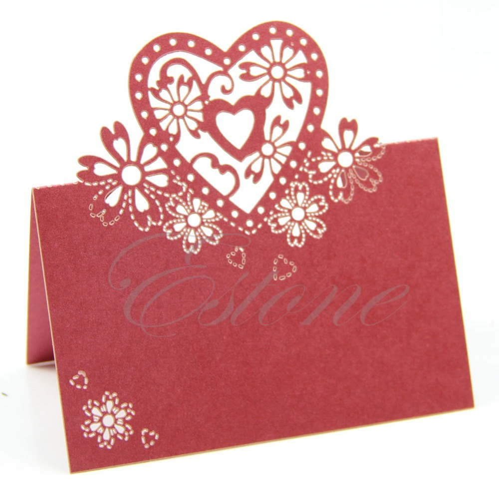50pcs Love Heart Laser Cut Wedding Party Table Name Place Cards ...