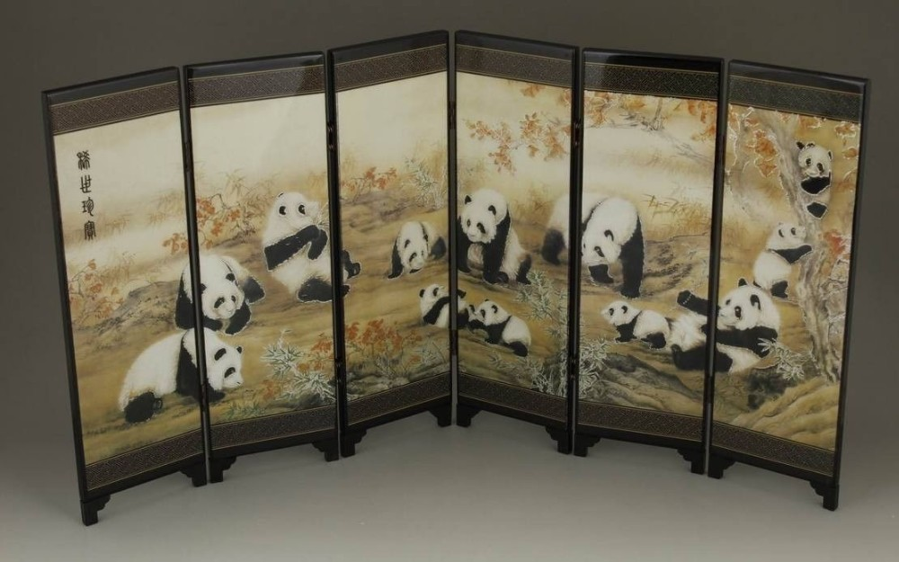 TNUKK ( Mini ) Exquisite Chinese Classical Lacquer Painting Folding Screen - Cute Pandas.