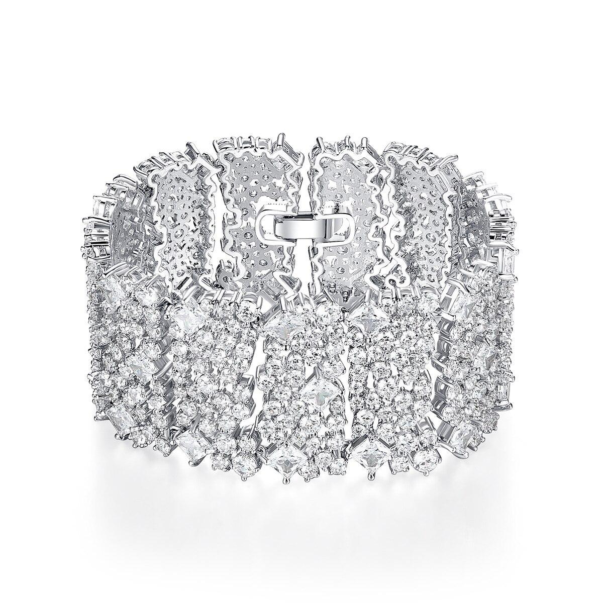 2019 nouveau cuivre AAA cubique zircone déclaration Bracelet Bracelets pour fête femmes large argent Bracelet Bracelets pour mariage