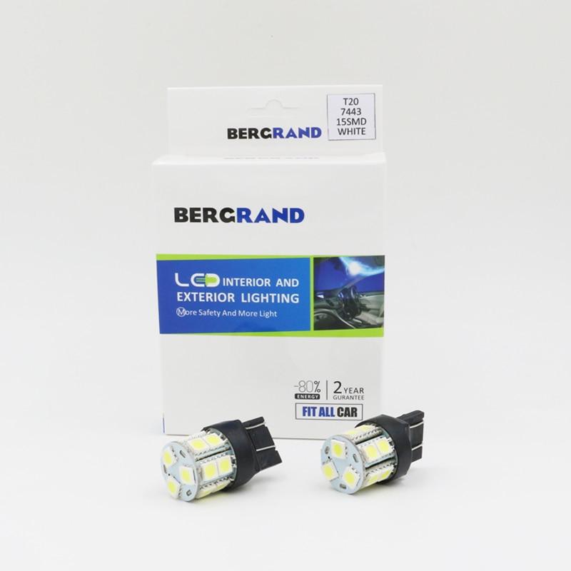 T20 7443 580 LED Bulb White 9000K Car Reverse Back Up Sidelight DRL Light 15SMD Epistar 5050 LED Chips 160lm Light Source 2PCS 2x white 382 p21w 1156 ba15s bulb samsung led sidelight turn indicator light drl ca221