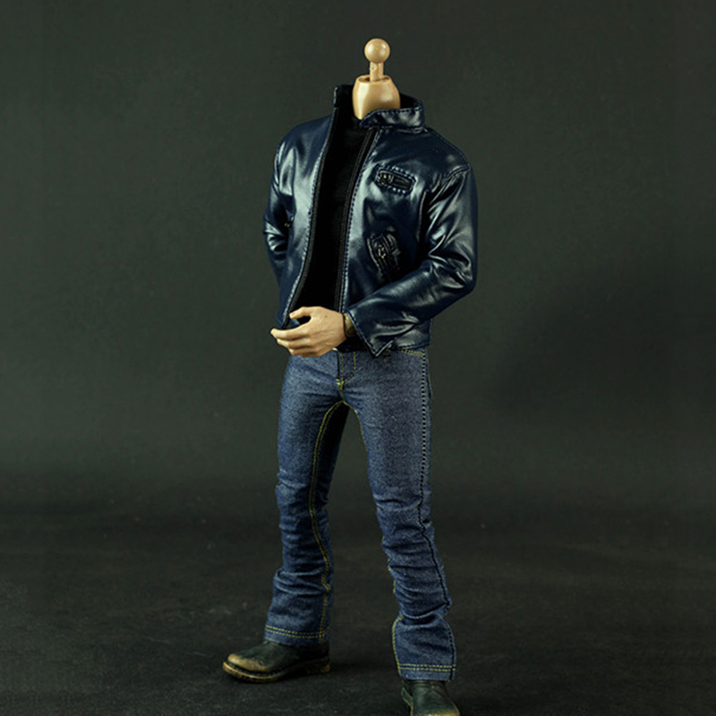 1/6 JG Dark Blue Leather Jacket & Jacket Clothes Set for 12 inches Male Action Figures napapijri guji check dark blue