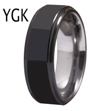 YGK Jewelry Mens Ring Wedding Bands Rings For Women Black&Silver Tungsten Carbide for Engagement Anniversary Party