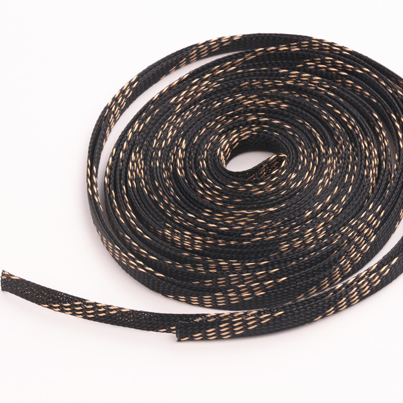 1pcs x 10M 8mm Tight Braided PET Expandable Sleeving Black+Gold Wire ...
