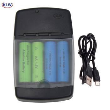 4 Yuvaları Akıllı USB Pil şarj Cihazı Için şarj Edilebilir Pil AA AAA AAAA 1.5 V Alkalin 14500 10440 16340 10440 3.2 V LiFePo4 şarj