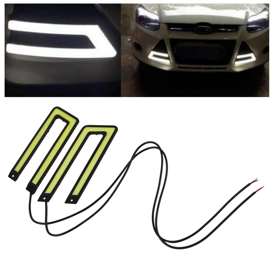 2pcs White COB Led Daytime Running Light DRL Headlight Fog Lamp DC12V Car Light Source U Shape 2pcs led car headlight light h15 63 smd 2835 drl daytime running light fog lamp bulb pure white 6000k dc 12v 24v