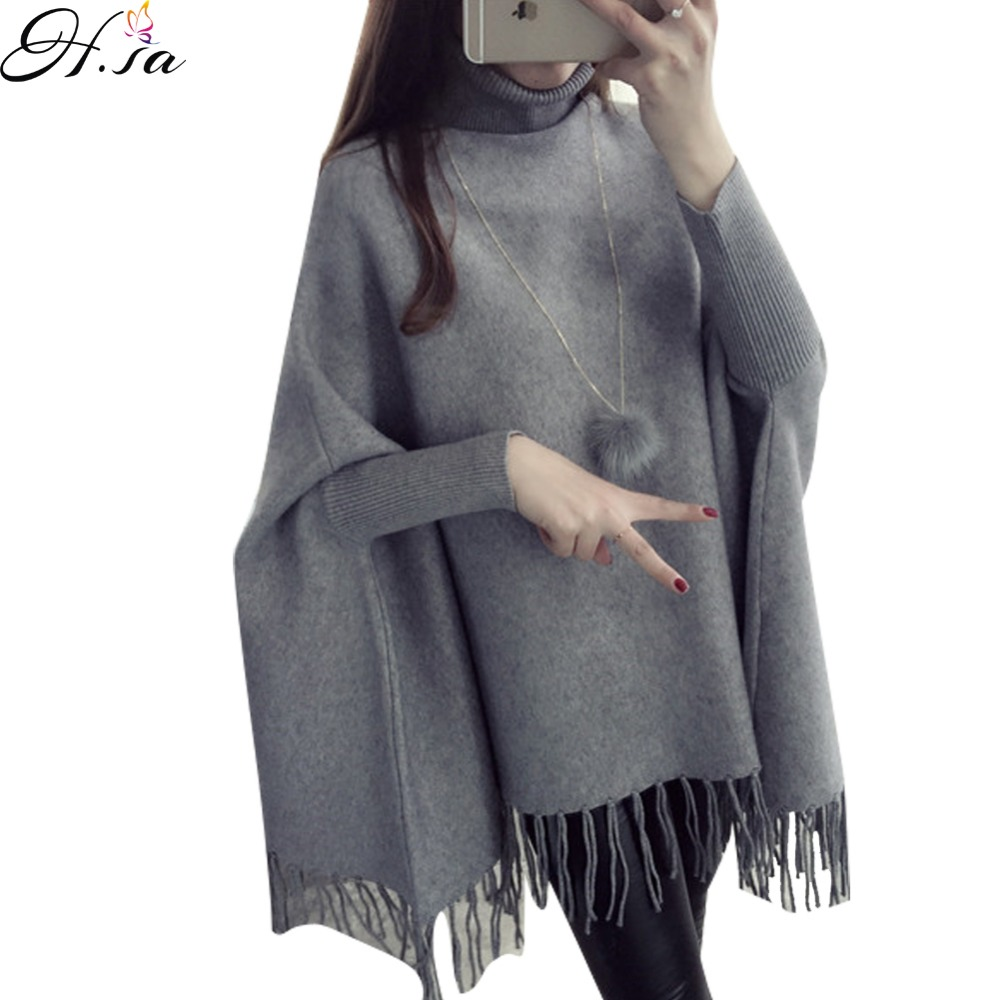 H,SA 2016 Autumn Winter Batwing Sweaters Poncho Turtleneck Women Tassel Pullover and Sweater Jumper Loose Oversized Burderry