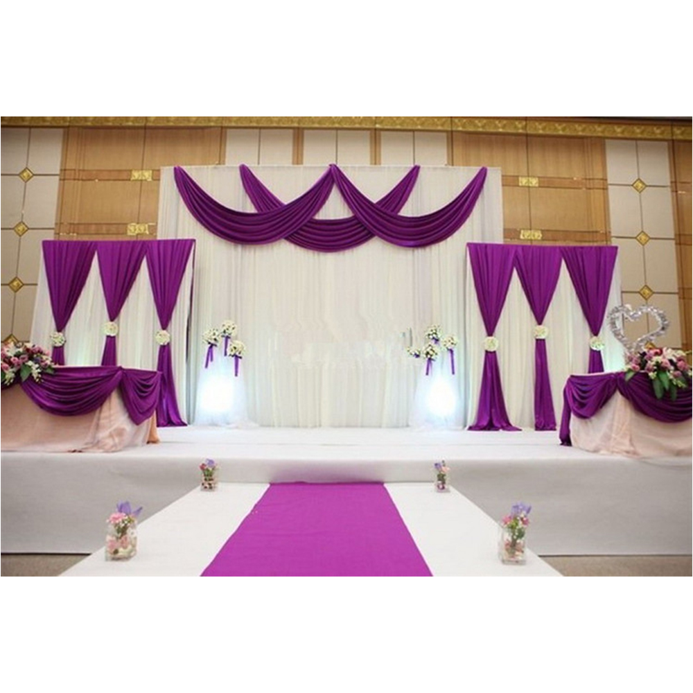 1 Set Background Stage Curtain Pearl Ice Silk Fabric Drapes DIY Cover Veil For Wedding Party