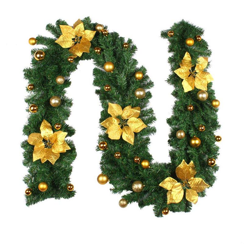 2.7M Decorated Garland Illuminated With Lights Christmas Decoration Xmas Garland For Fireplace Stairs Baubles Flowers Xmas Tre