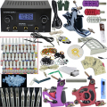 OPHIR 380pcs PRO Complete Tattoo Kit 3 Tattoo Machines Guns 40 Colors Ink Pigment Tattoo Supply Power Needles Nozzles Set_TA005