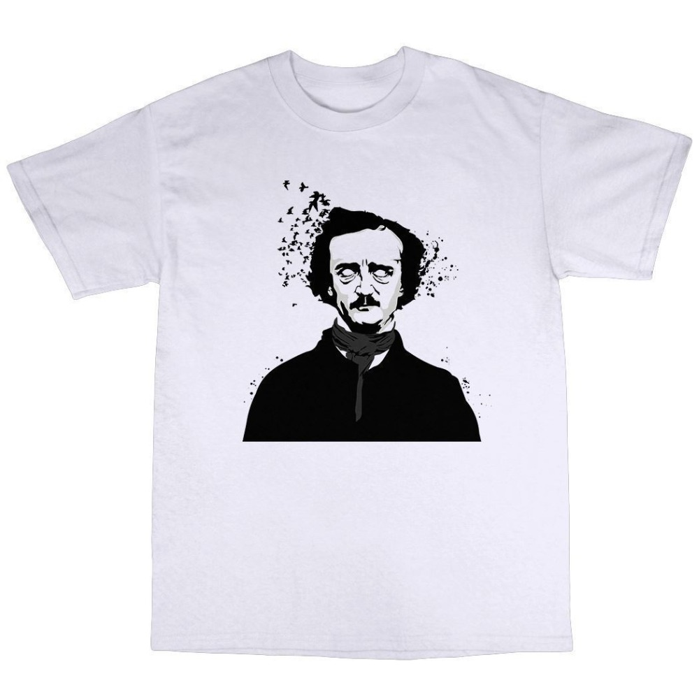 Novelty Shirts Design Crew Neck Edgar Allen Poe T-Shirt 100% Premium Cotton Short-Sleeve T Shirts For Men ...