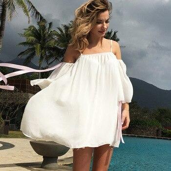 e99148f31fc6fc4 Шифоновый с открытыми плечами свободные платья розовый бант рукав ...