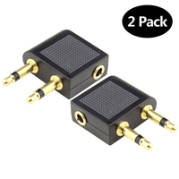 3.5 mono(stereo) jack to 2*3.5 mono plugs Pro Airline Airplane Golden Plated Headphone Jack Plug Adapter Hot Sell