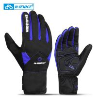 966 Blue-INBIKE Touch Screen WinterWindproof Warm Full Finger Cycling Gloves