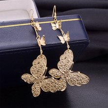 Women Faddish Exaggerate Butterfly Earrings Delicacy Drop Long For Wedding Employ