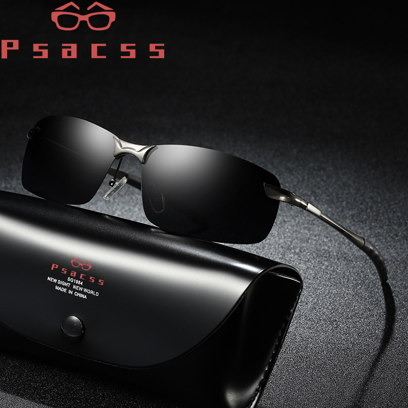 Psacss Square Sunglasses Men Photochromic Brand Designer Driving Fishing Sun Glasses Men's High Quality Metal Frame Mirror UV400