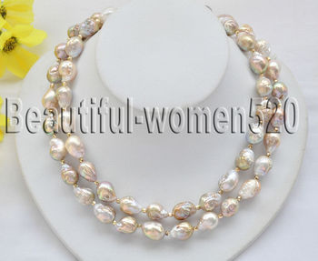Z7112 13mm PEACOCK LAVENDER ALMOST ROUND Edison KESHI REBORN PEARL NECKLACE 35in