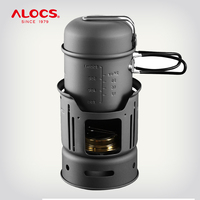 ALOCS CW C01 Set 7 Pieces Outdoor Cookware Camping Hiking Picnic Cooking Utensil Spirit Stove Alcohol Burner Pot Bowl Windshield