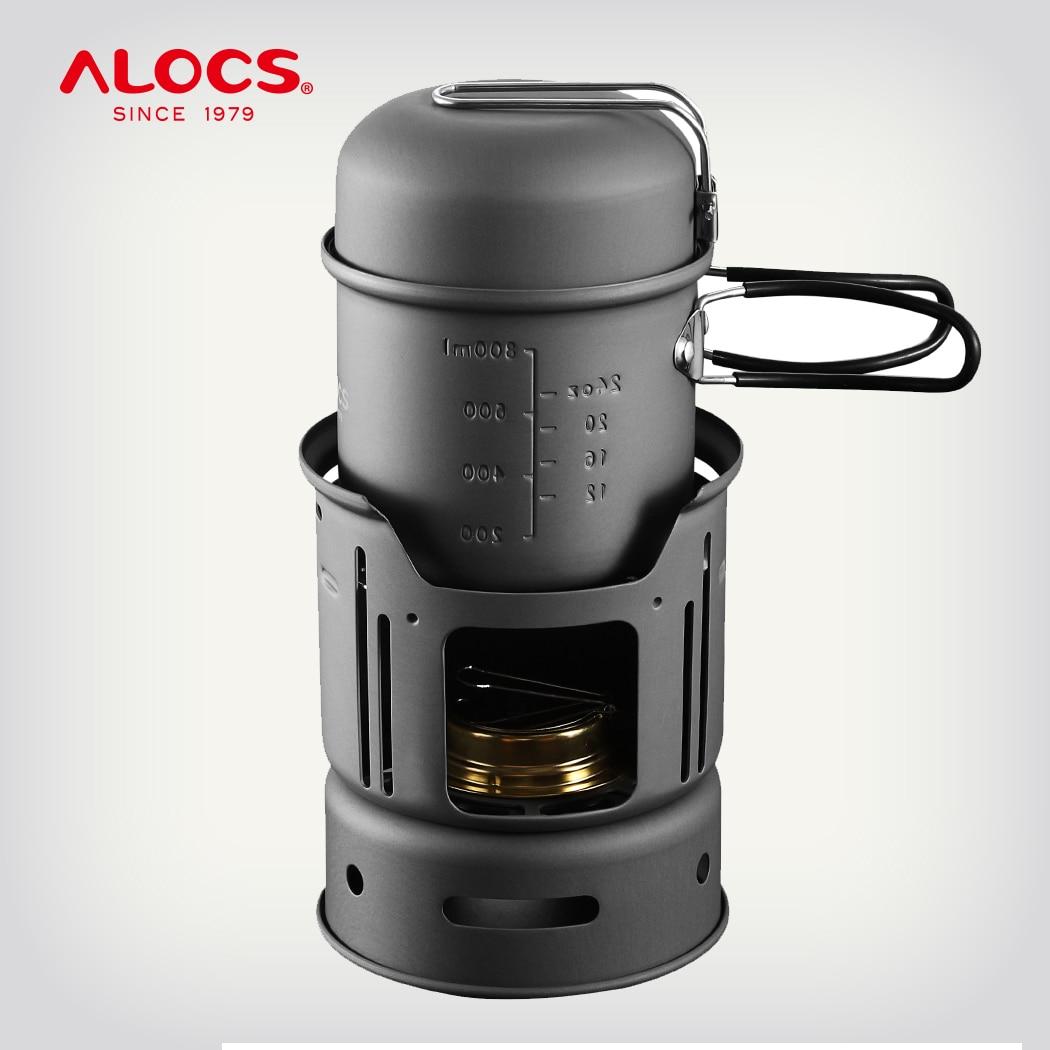 ALOCS CW-C01 ensemble 7 pièces extérieur batterie de cuisine Camping randonnée pique-nique cuisine ustensile esprit poêle alcool brûleur Pot bol pare-brise