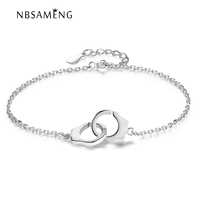 100 925 Sterling Silver Crystal Charm AAA Cubic Zirconia Handcuffs Firendship Bracelets Link Chain For Women