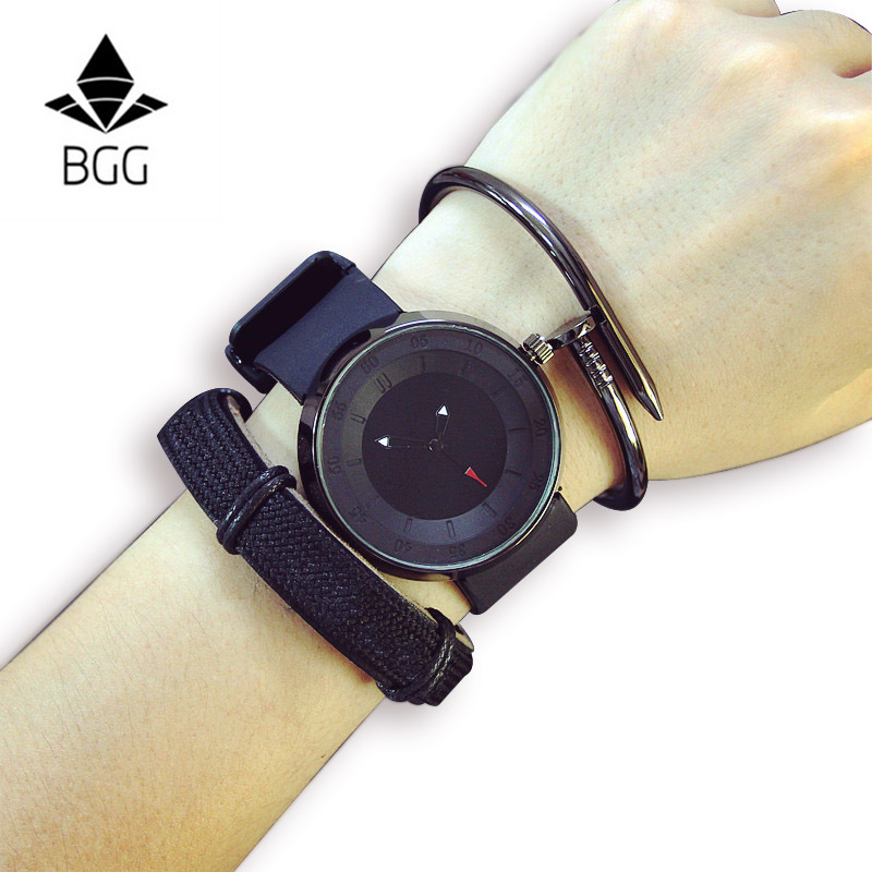 BGG Brand luxury men women black white watch fashion casual Casual quartz hot brand sports watches silicone lovers wristwatch 2016 new hot sale brand magic star black white analog quartz bracelet watch wristwatches for women girls men lovers op001