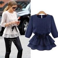 Round Collar Blouse White Blue Plaid Shirt Tops Women Waist Drawstring Ladies Blouses Half Sleeve Peplum