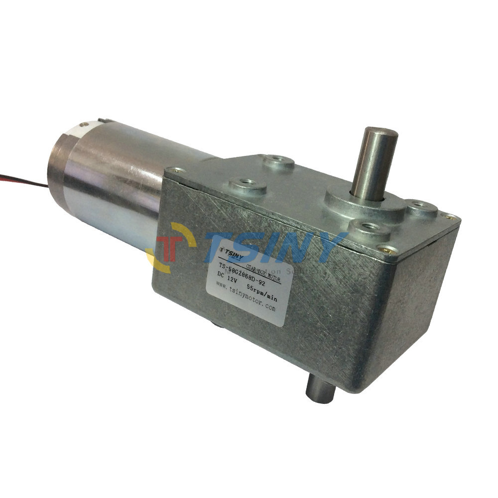 High quality 12v 55rpm DC worm gear motors biaxially brush DC motor, rated torque 27kg.cm ,free shipping