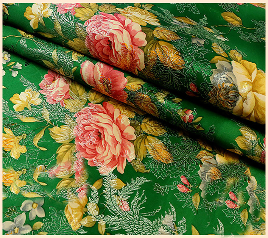 Ethnic floral jacquard tapestry satin silk brocade fabric for Kids dress fabric
