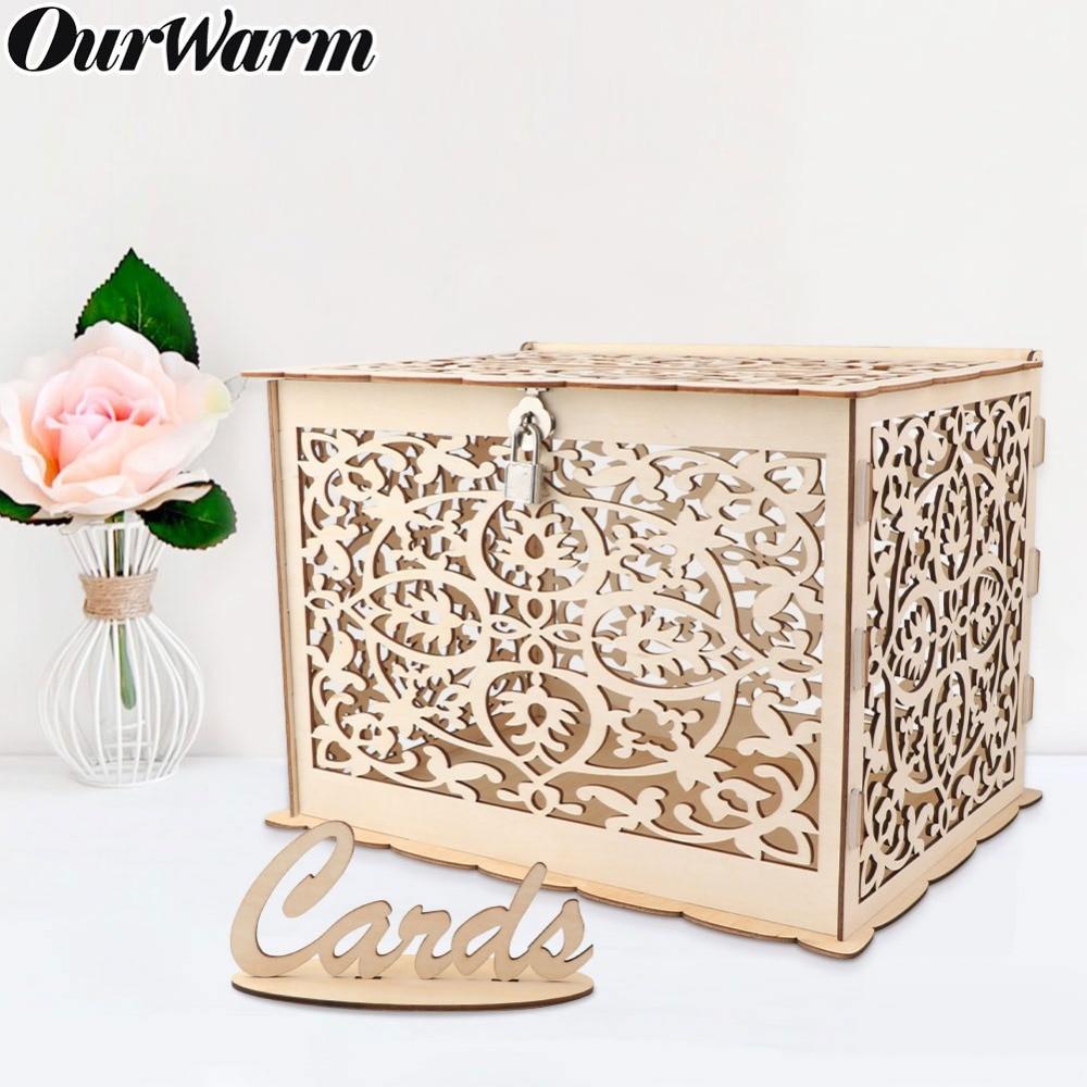 Ourwarm Wedding Card Box Birthday Party Decorations Rustic Wooden Card Box With Lock Diy Money Box