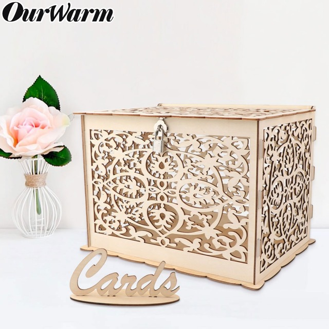 Us 19 99 30 Off Ourwarm Wedding Card Box Birthday Party Decorations Rustic Wooden Card Box With Lock Diy Money Box Gift For Guest In Wedding Card