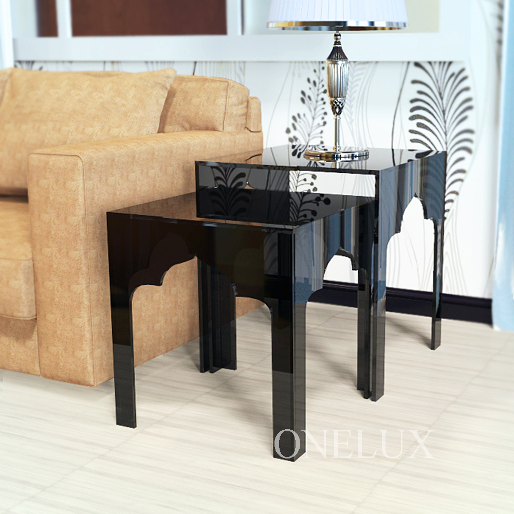 (2 Pieces/lot) Engraved Acrylic Nesting Sofa Tables,Lucite Occasional Side  Riser Table,Plexiglass Small Furnitures Part 97