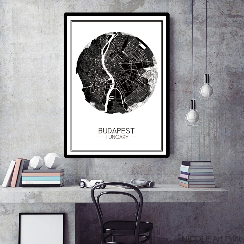 Modern Map of Budapest Hungary Canvas Art Print Poster, Minimalist Wall Picture for Living Room Decoration, Home Decor Painting