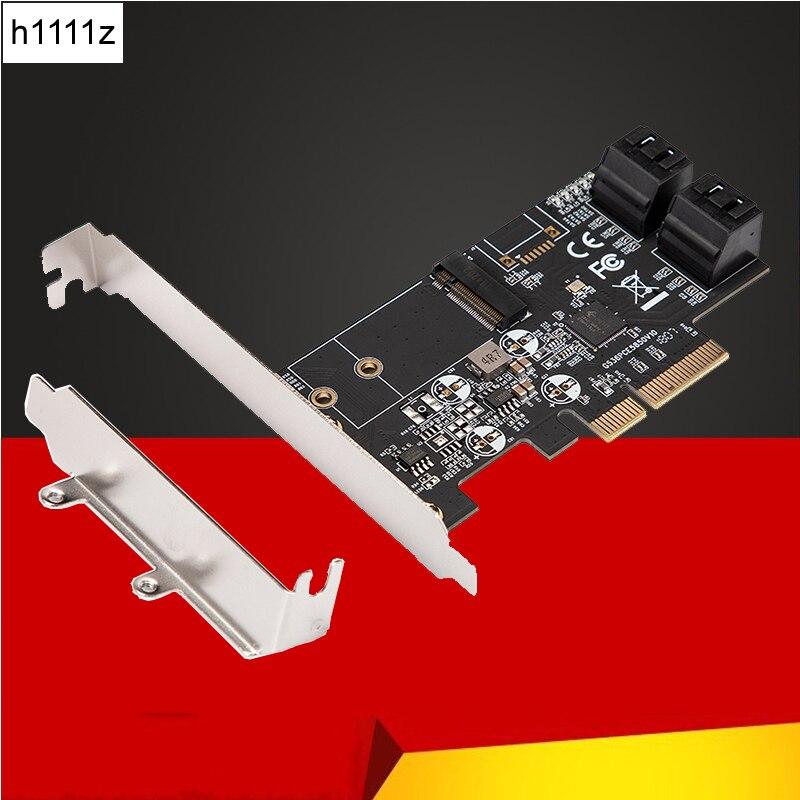 Carte contrôleur PCI Express SATA 3 adaptateur PCIE à M2 M.2 NGFF 4 ports SATA III 6 GB/s prise en charge de la carte d'extension 2230 2242 M2 SSD HDD