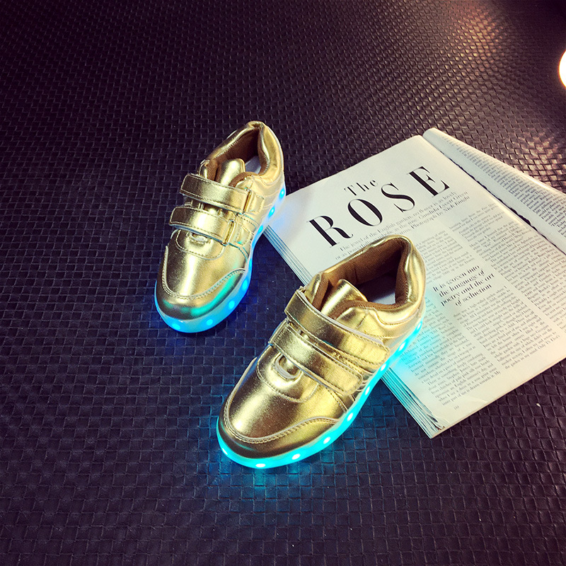 5d8efdb69472 7 Color Led Shoes For Kids baby Sneakers Led Flash Children Breathable gold  Light Up Shoes With Usb Charging-in Sneakers from Mother   Kids on ...