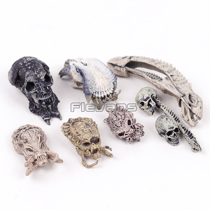 AVP Alien vs Predator Skull Skeleton PVC Figures Collectible Model Toys 8pcs/set airsoft adults cs field game skeleton warrior skull paintball mask
