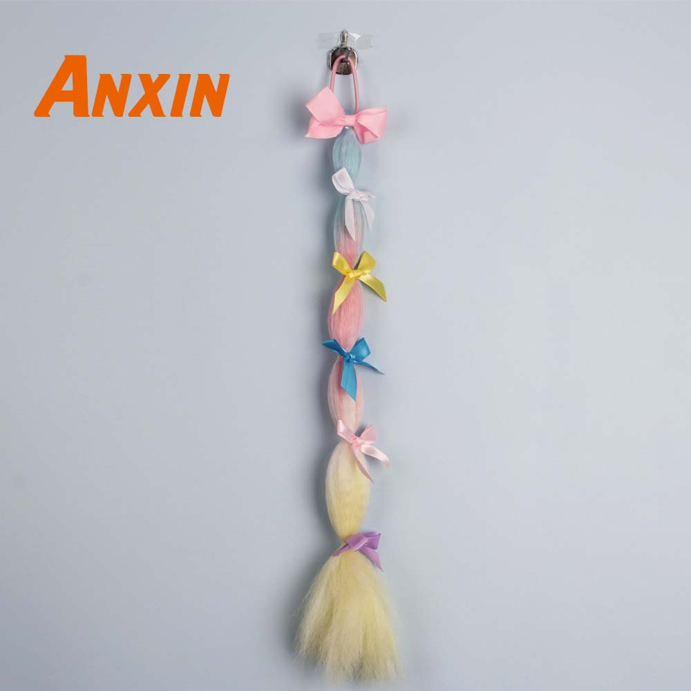 Anxin Straight Colorful Flower Braid Hair Accessories Wigs Candy Color For Girls Cosplay Party Anime Synthetic Wig Ponytail in Synthetic None Lace Wigs from Hair Extensions Wigs