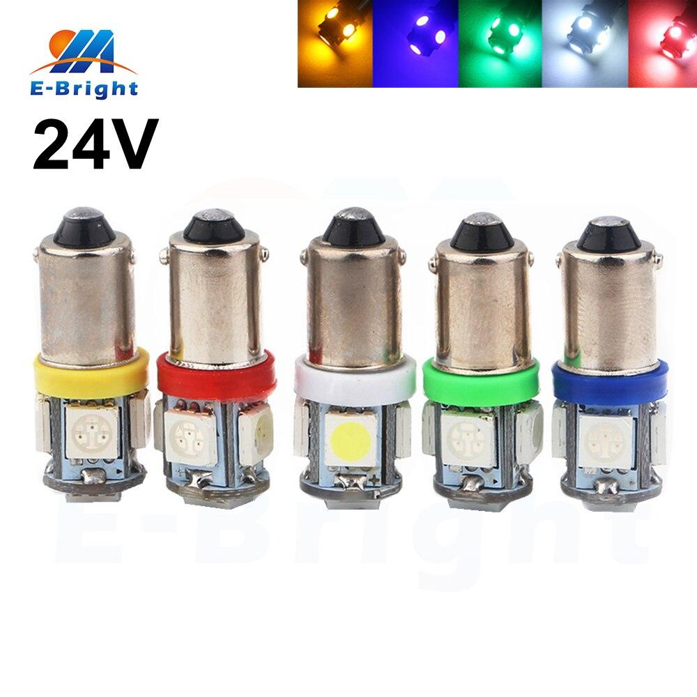 10pcs/lot 24V BA9S W6W 5050 5 SMD LED Bulbs Auto Lamp Wedge Marker LED Car Truck Indicator Signal Lights Parking 60Lm Lamp цена