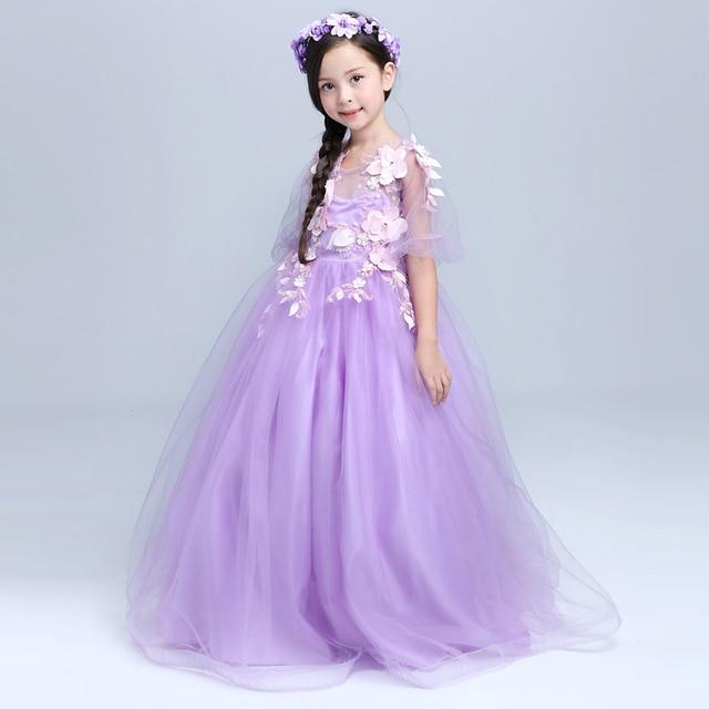 Purple Mesh Princess Gown Full Length Girls Wedding Dresses Summer 2017 New Short Sleeves O