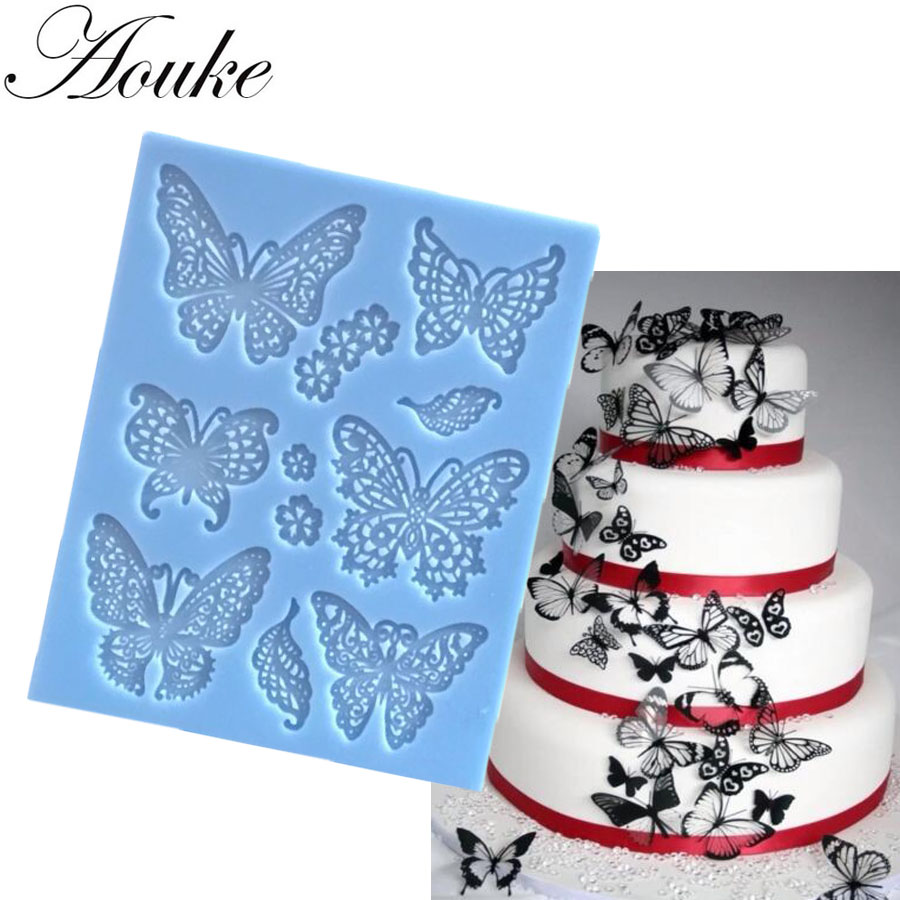 Aouke Butterfly Lace Mat Moule Silicone Mold Cake Decorating Sugarcraft Fondant Flower Embossing Stamp Pastry tool Wedding K059