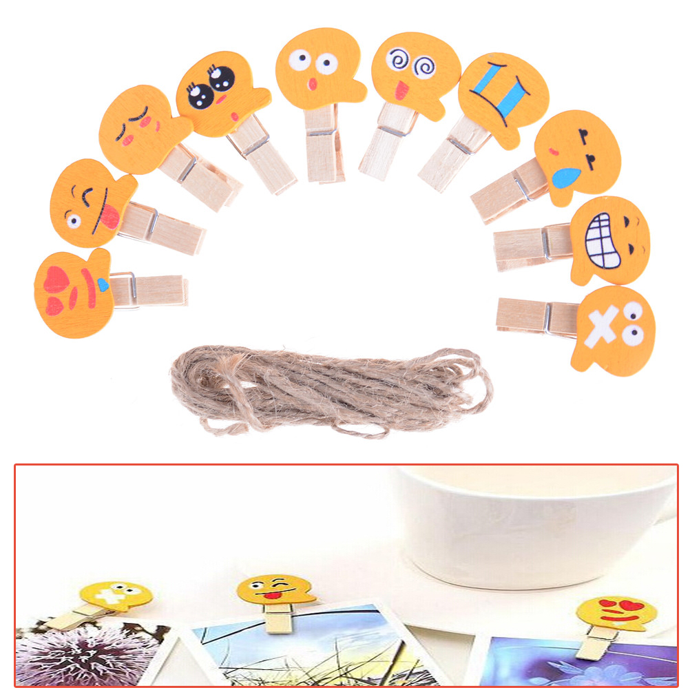 Office Binding Supplies 10pcs/set Wooden Emoji Emotion Clip Office Accessories Clip Paper Binder Stationery Accessoires Desk School Clip Providing Amenities For The People; Making Life Easier For The Population