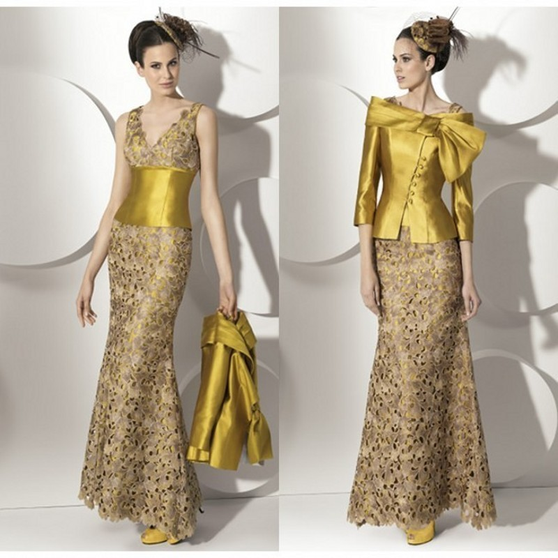Us 12015 11 Offelegant Mother Of Bride Lace Dresses Special Pattern Two Piece Long Mother Dresses Golden Sash Wedding Party Gowns For Mum In