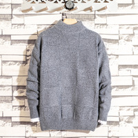 sweater loose middle collar sweater fashion 2018 pure color large size sweater men's clothing wholesale